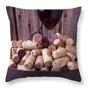Glass Of Wine With Corks Throw Pillow