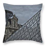 Glass Pyramid And Louvre Museum Paris Throw Pillow