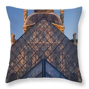 Glass Pyramid At Musee Du Louvre Throw Pillow