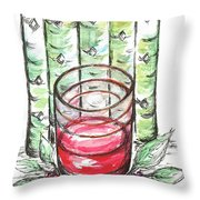 Glass Rosy Wine Throw Pillow