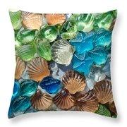 Glass Seashell Throw Pillow