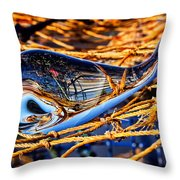 Glass Whale On Fishing Nets Throw Pillow