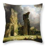 Glastonbury Abbey With The Tor Throw Pillow