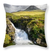 Glen Brittle Waterfall Throw Pillow