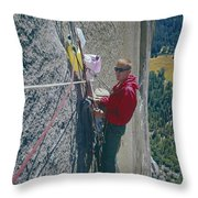 T-306607-glen Denny With Me On El Cap First Ascent 1962 Throw Pillow