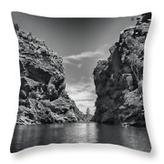 Glen Helen Gorge-outback Central Australia Black And White Throw Pillow