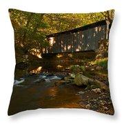 Glen Hope Covered Bridge Throw Pillow