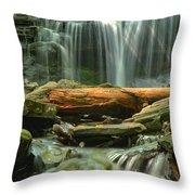 Glen Leigh River Rocks And Falls Throw Pillow