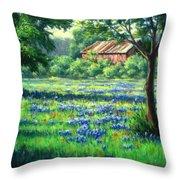 Glen Rose Bluebonnets Throw Pillow