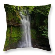 Glencar Waterfall Is Situated Throw Pillow
