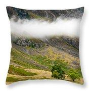 Misty Mountain Landscape Throw Pillow