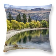 Glendhu Bay Lake Wanaka With Autumnal Trees Throw Pillow