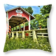 Glessner Wooden Bridge Throw Pillow