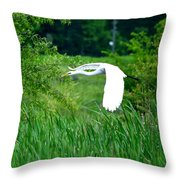 Gliding Egret Throw Pillow
