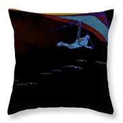 Gliding In Black Throw Pillow