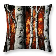 Glimpse Of Red Throw Pillow by Vickie Warner
