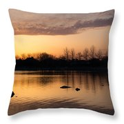 Gloaming - Subtle Pink Lavender And Orange At The Lake Throw Pillow