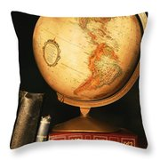 Globe And Books Throw Pillow by Don Hammond