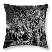 Gloomy Icy Tree Throw Pillow