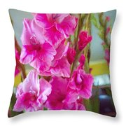 Glorious Gladiolus Throw Pillow