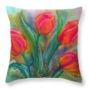 Glorious Tulips Throw Pillow