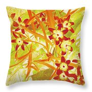 Glory Of The Snow - Lime Green And Orange Throw Pillow