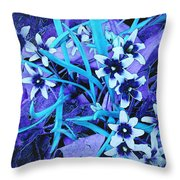 Glory Of The Snow - Violet And Turquoise Throw Pillow
