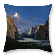 Glow - Moonrise Over Yosemite National Park. Throw Pillow