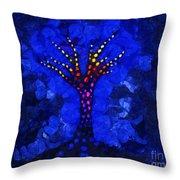 Glow Tree Blue Throw Pillow