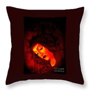 Glowing Botticelli Madonna Throw Pillow