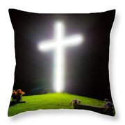 Glowing Cross Throw Pillow
