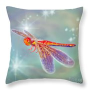 Glowing Dragonfly Throw Pillow
