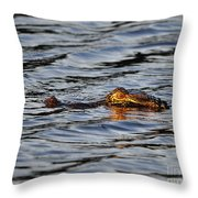 Glowing Gator Throw Pillow