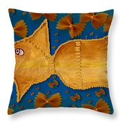 Glowing  Gold Fish Throw Pillow