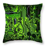 Glowing Green Circuit Board Throw Pillow