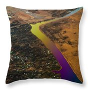 Glowing River. Rainbow Earth Throw Pillow