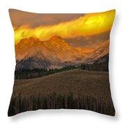 Glowing Sawtooth Mountains Throw Pillow