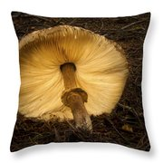 Glowing Shaggy Mane Mushroom Throw Pillow
