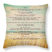 Glowing Soft Surf And Sand With Knots Poem Throw Pillow