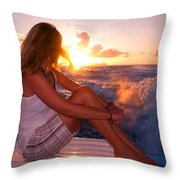 Glowing Sunrise. Greeting New Day  Throw Pillow