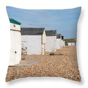 Glyne Gap Beach Huts In Sussex Throw Pillow