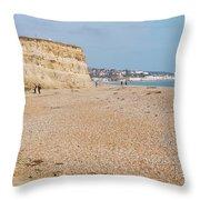 Glyne Gap Beach In England Throw Pillow
