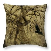 Gnarled And Twisted Tree With Crow Throw Pillow