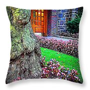 Gnarly Tree With Flowers Throw Pillow
