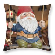Gnome On A Swing 2 Throw Pillow