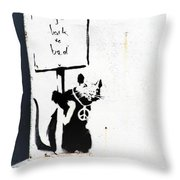 Go Back To Bed Protester Throw Pillow