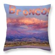 Go Broncos Colorado Front Range Longs Moon Sunrise Throw Pillow