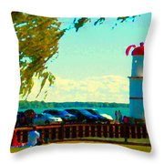 Go Fly A Kite Off A Short Pier Lachine Lighthouse Summer Scene Carole Spandau Montreal Art  Throw Pillow