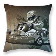 Go-kart Racing Grunge Monochrome Throw Pillow