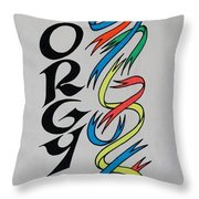 Go Orgy Go Throw Pillow